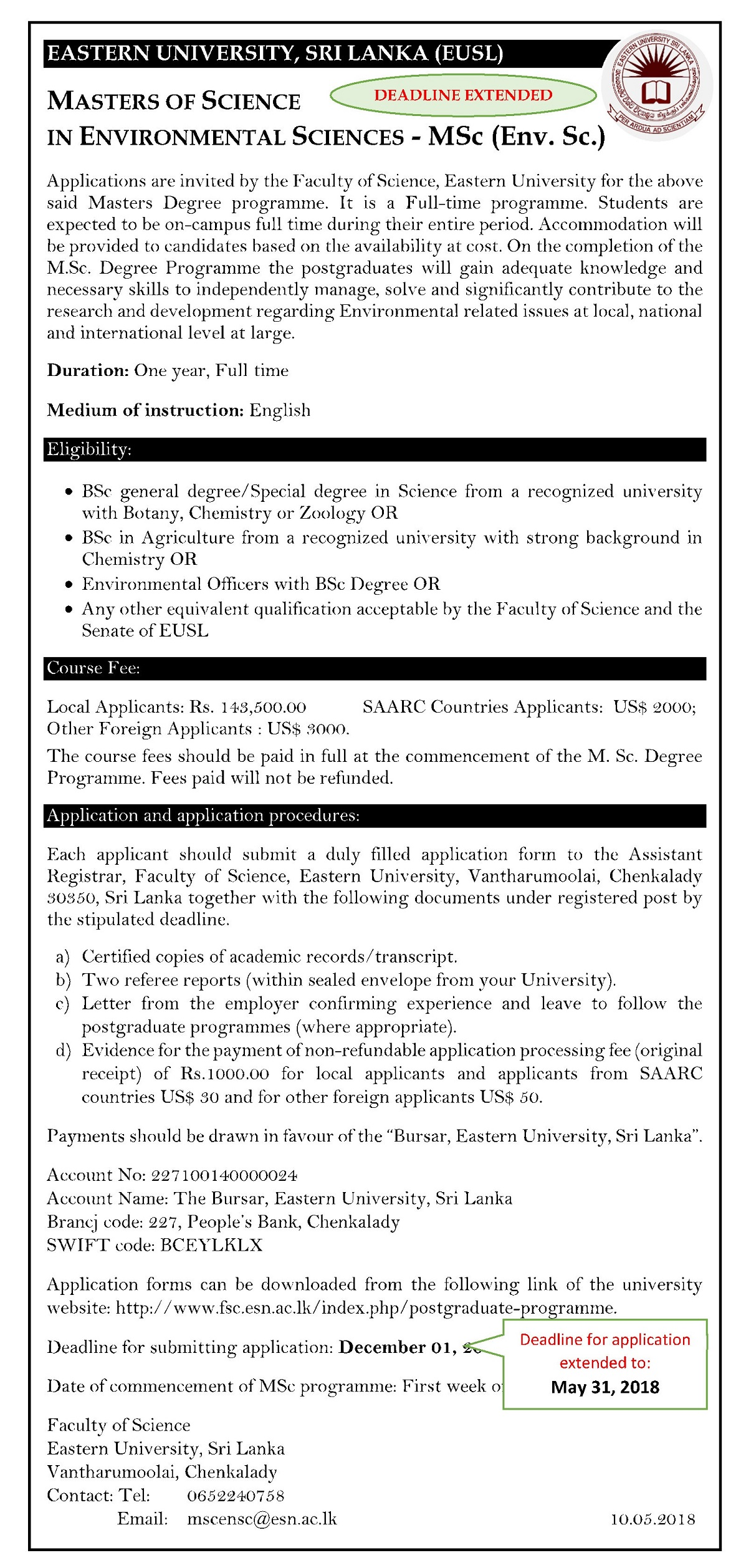 14052018 MSc Env Sc Advertisement Extended 31st May