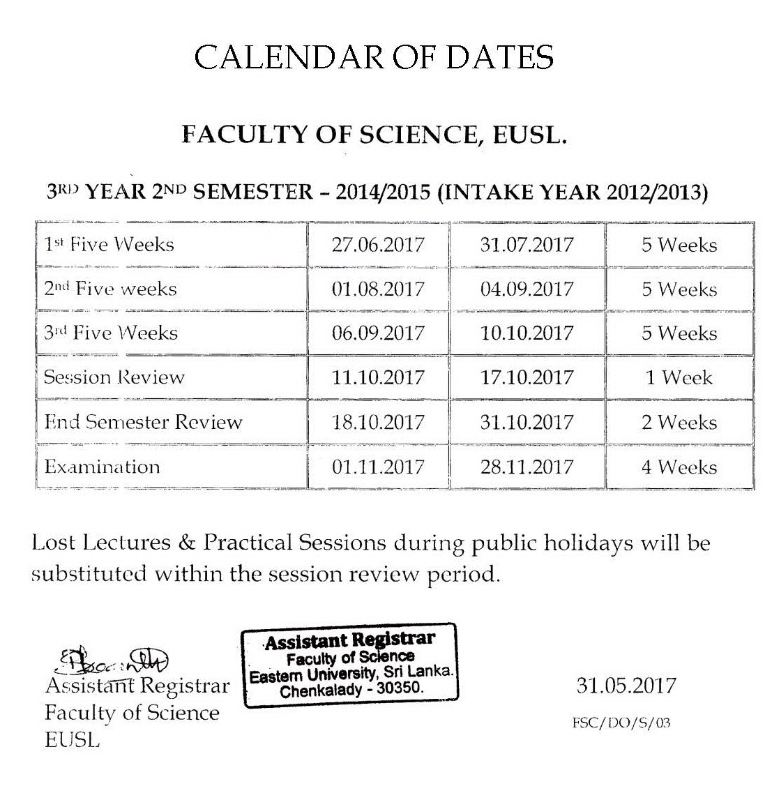Calendar of Dates Year-3 Semester-2
